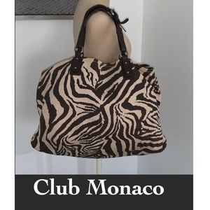 Auth  Club Monaco printed canvas & leather purse